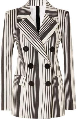 Petar Petrov Jill Striped Wool And Silk-blend Jacket - Gray