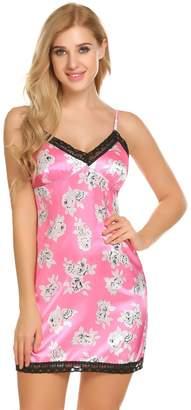 Ekouaer Women's Mini Chemise Nightgown Sexy Sleepwear Slip Dress(,M)