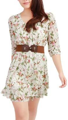 Allegra K Women Floral Print Chiffon Above Knee A Line Dress L