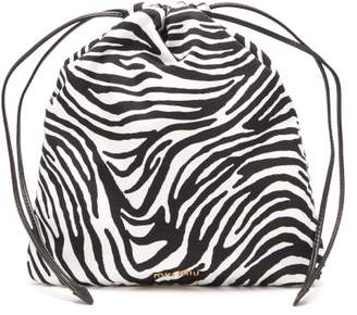 Miu Miu Zebra Print Drawstring Wash Bag - Womens - Black Multi