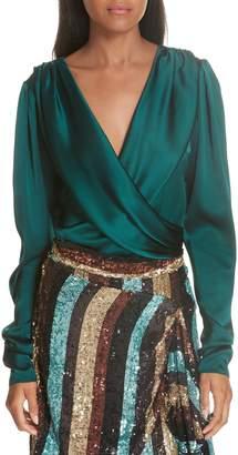 Caroline Constas Berdine Stretch Silk Charmeuse Bodysuit