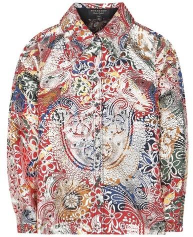 Burberry Burberry Russet Wool-blend Jacquard Brocade Printed Shirt