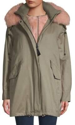 Derek Lam 10 Crosby Fox Fur-Trim & Faux Fur-Lined Parka