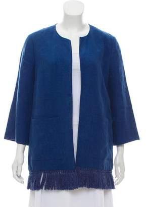 Tory Burch Collarless Linen Jacket