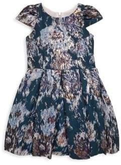 Zoe Girl's Metallic Brocade Box Pleat Velvet Dress