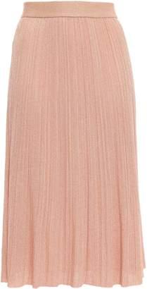 M Missoni Metallic Ribbed-knit Midi Skirt