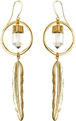 clear Tiana Jewel - Feather Canyon Quartz Hoop Earrings