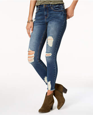 American Rag Juniors' Ripped Raw-Edged Skinny Jeans, Created for Macy's