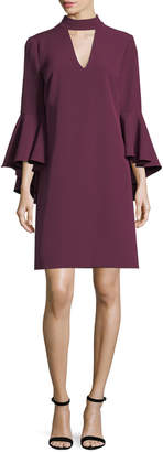 Milly Andrea Italian Cady Bell-Sleeve Dress