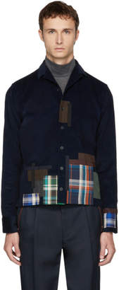 Kolor Navy Plaid Patchwork Shirt