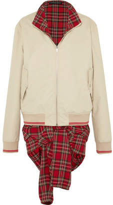 Y/Project Oversized Layered Twill And Tartan Cotton Bomber Jacket - Beige