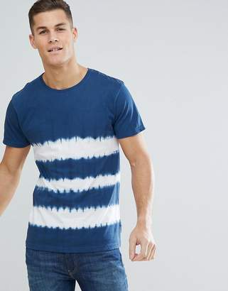 Bellfield T-Shirt With Tie Dye Stripe In Blue