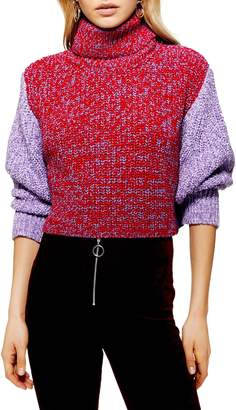 Topshop Three Color Roll Neck Sweater