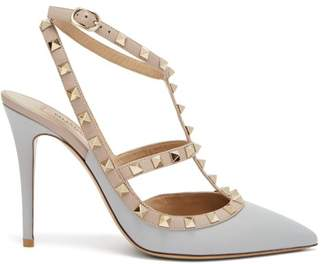 Valentino Rockstud Leather Pumps - Womens - Grey