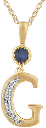 FINE JEWELRY G Womens Lab Created Blue Sapphire 14K Gold Over Silver Pendant Necklace