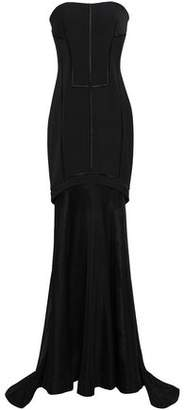 Amanda Wakeley Strapless Tiered Mesh-paneled Embroidered Faille Gown
