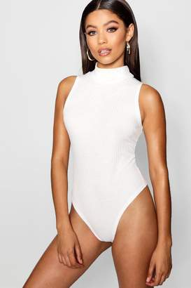 boohoo Turtle Neck Rib Knit Thong Bodysuit