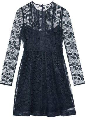 RED Valentino Ruffle-Trimmed Pintucked Lace Mini Dress