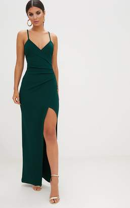 PrettyLittleThing Emerald Green Wrap Front Crepe Maxi Dress
