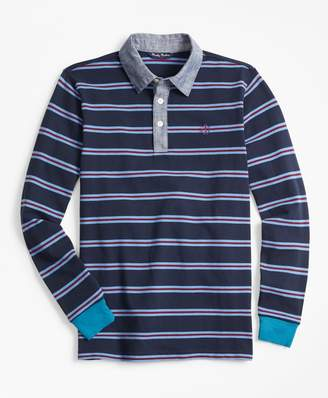 Brooks Brothers Cotton Long-Sleeve Stripe Pique Polo Shirt