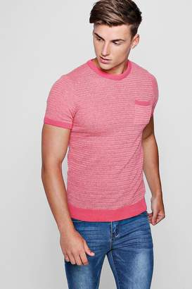 boohoo Contrast Chest Pocket Knitted Muscle Fit T-Shirt