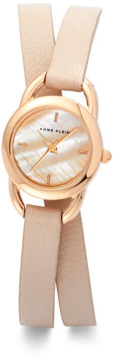 Anne Klein Double Wrap Leather Watch