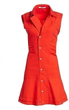 Derek Lam 10 Crosby Women's Sleeveless Ruched Poplin Dress - Size 0