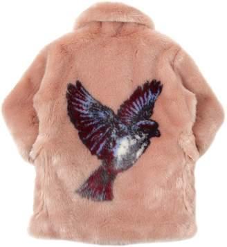 Stella McCartney Hummingbird Printed Faux Fur Coat
