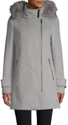 Calvin Klein THE COAT EDIT Faux Fur-Trimmed Coat