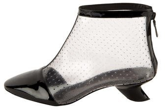 Chanel Perforated Cap-Toe Ankle Boots