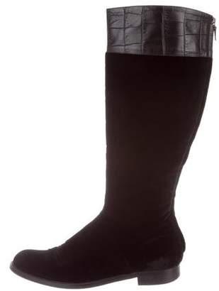 Alberta Ferretti Velvet Knee-High Boots