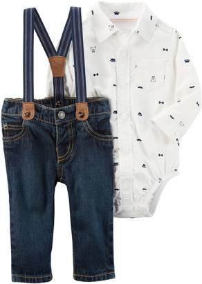 Carter's Baby Boy Bear Button-Down Bodysuit & Suspender Jeans Set