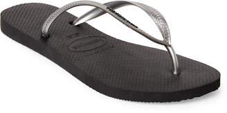 Havaianas Black & Silver Slim Logo Pop Up Flip Flops
