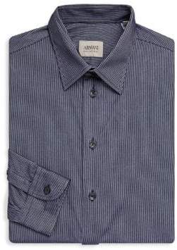 Armani Collezioni Striped Casual Button-Down Shirt