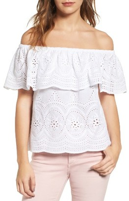 Women's Cupcakes And Cashmere Davy Eyelet Off The Shoulder Top $105 thestylecure.com