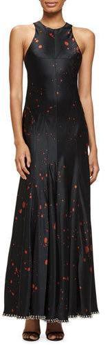 Alexander WangAlexander Wang Bleach-Splatter Sleeveless Gown, Black