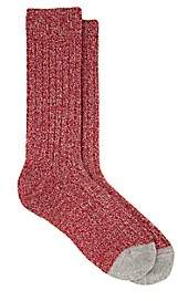 Barneys New York Men's Marled Cashmere-Blend Mid-Calf Socks - Red