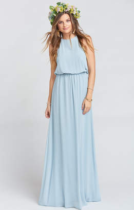 Show Me Your Mumu Heather Halter Dress ~ Steel Blue Chiffon