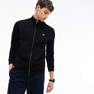 Lacoste Men's Zippered Stand-up Collar Fleece Sweatshirt