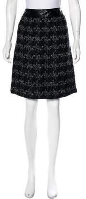 Tory Burch Leather Trimmed Midi Skirt