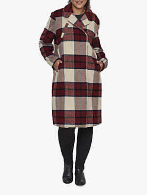 Stampi Check Coat, Oatmeal/Red