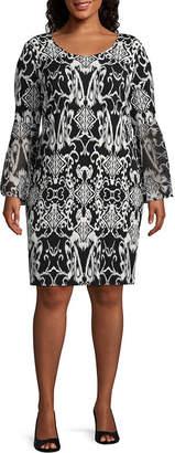 MSK 3/4 Sleeve Scroll Shift Dress - Plus