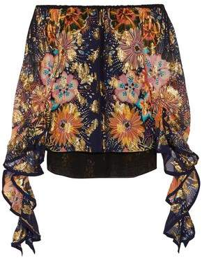 Chloé Off-the-shoulder Floral-print Fil Coupe Silk Blouse