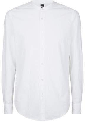 BOSS Seersucker Mandarin Collar Shirt