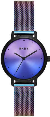 DKNY Women Modernist Purple Iridescent Stainless Steel Mesh Bracelet Watch 32mm