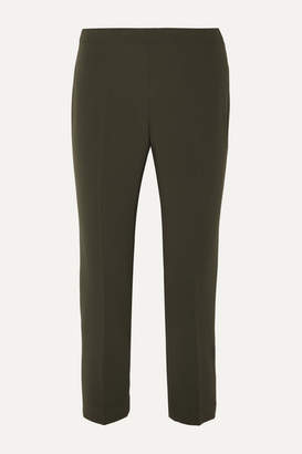 Theory Cropped Crepe Tapered Pants - Army green