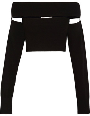 McQ Alexander McQueen - Off-the-shoulder Stretch-knit Top - Black $395 thestylecure.com