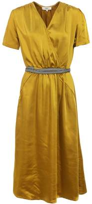 Suncoo Yellow Short Sleeve Midi Dress - 2 - Yellow