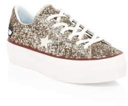 Converse Women's Chiara Ferragni One Star Glitter Leather Platform Sneakers