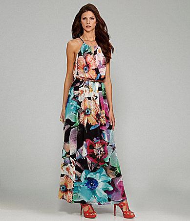 Gibson & Latimer Floral-Print Halter Maxi Dress